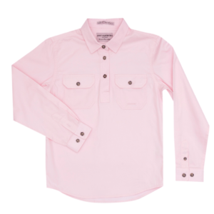 Girls Long Sleeve half button work shirt Pink