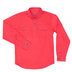 Girls Half Button, Long Sleeve workshirt Raspberry