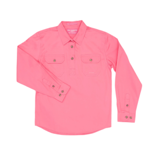 Girls Half Button, Long Sleeve workshirt Rose