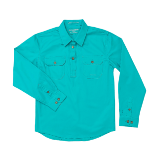 Girls Half Button, Long Sleeve workshirt Turquoise