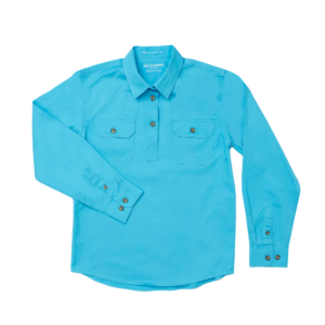 Girls Half Button, Long Sleeve workshirt Sky
