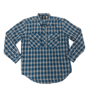 Swanndri mens barn shirt aqua check front half button