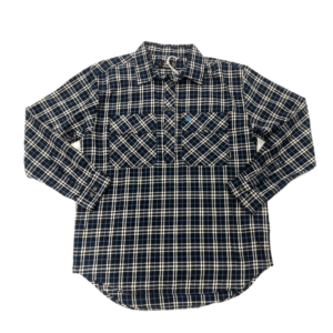 Swanndri mens barn shirt blue check front half button