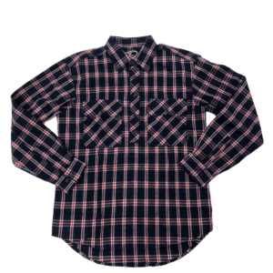 Swanndri mens barn shirt marine blue check front half button