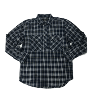Swanndri mens barn shirt navy check front half button