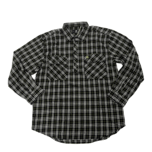 Swanndri mens barn shirt olive check front half button