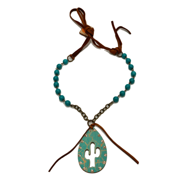 Turquoise Crackle Wood Reardrop With Cactus Cut Out And Light Silk Crystals On 10Mm Turquoise Bead Chain And Saddle Tan Leather Necklace