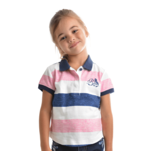 Pure Western Girls Adley Polo - Navy/Pink