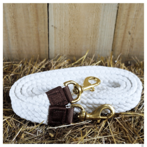 White Polocrosse reins with brass clips