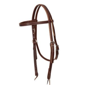 """Features Crafted from supple brown latigo leather, this headstall feels as good as it looks. The doubled and stitched ⅝"""" headstall has a comfortable single-ply throat latch. Accented with colour-coordinated latigo leather laces at browband and bit ends for both style and function. Durable nickel plated hardware."""