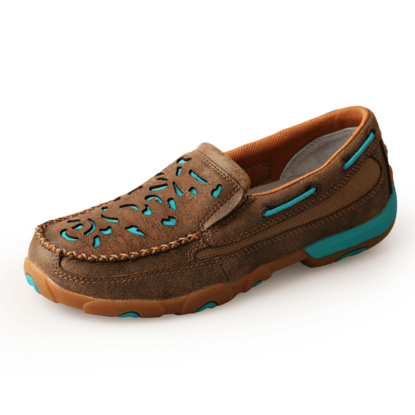 Twisted X Cutout Mocs slip on - Bomber/Turquoise